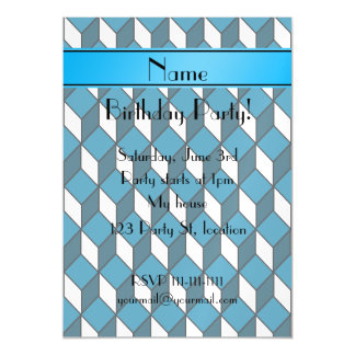 Personalized name 3d sky blue squares magnetic invitations