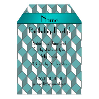 Personalized name 3d turquoise squares 5x7 paper invitation card