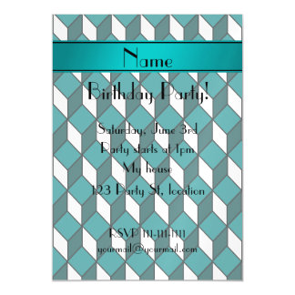 Personalized name 3d turquoise squares magnetic invitations