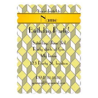 Personalized name 3d yellow squares 5x7 paper invitation card