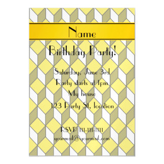 Personalized name 3d yellow squares magnetic invitations