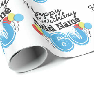 Personalized Name 60 yr Bday Blue - 60th Birthday Wrapping Paper