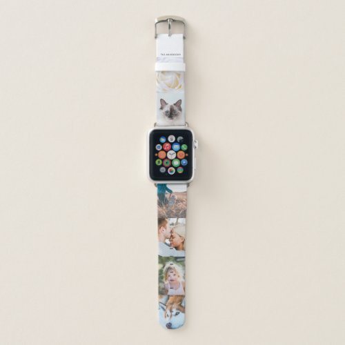 Personalized Name 6 Photo Collage Apple Watch Band
