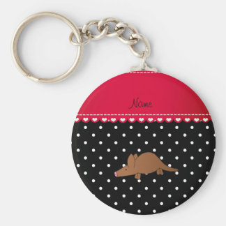 Personalized name aardvark black white polka dots key chains