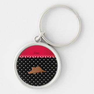 Personalized name aardvark black white polka dots key chain