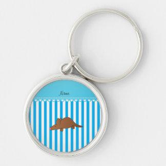 Personalized name aardvark blue white stripes key chain