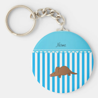 Personalized name aardvark blue white stripes key chains