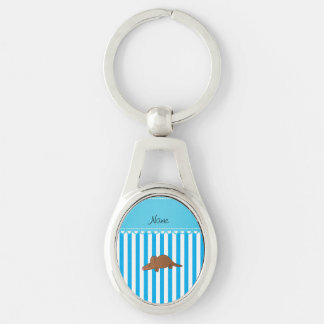 Personalized name aardvark blue white stripes keychains