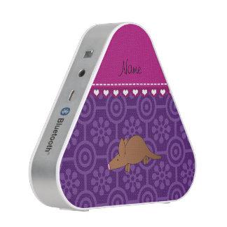 Personalized name aardvark purple retro flowers bluetooth speaker