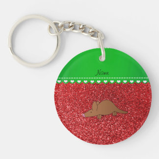 Personalized name aardvark red glitter acrylic key chains