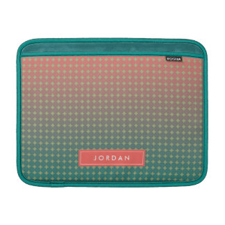 Personalized Name Abstract Beach Sunset Coral Teal MacBook Sleeve