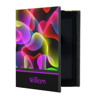 Personalized Name Abstract Neon Lava Swirls iPad Case