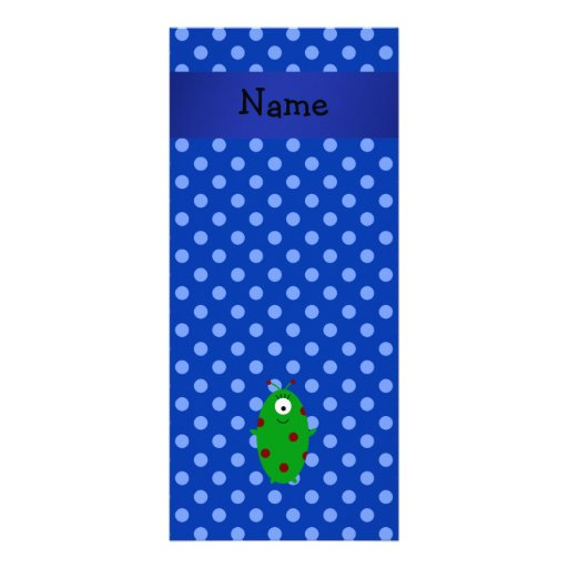 Personalized name alien blue polka dots rack cards