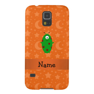 Personalized name alien orange stars moons galaxy s5 covers