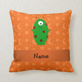 Personalized name alien orange stars moons pillow