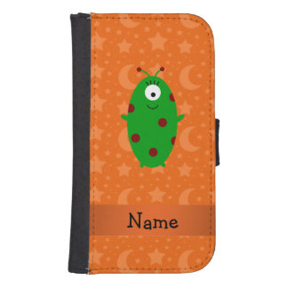 Personalized name alien orange stars moons galaxy s4 wallet case