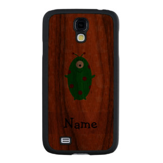 Personalized name alien orange stars moons carved® walnut galaxy s4 slim case