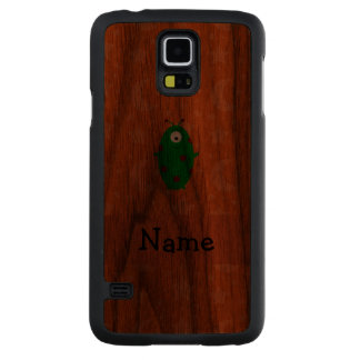 Personalized name alien orange stars moons carved® walnut galaxy s5 case