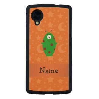 Personalized name alien orange stars moons carved® maple nexus 5 slim case