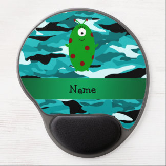Personalized name alien turquoise camouflage gel mouse mats