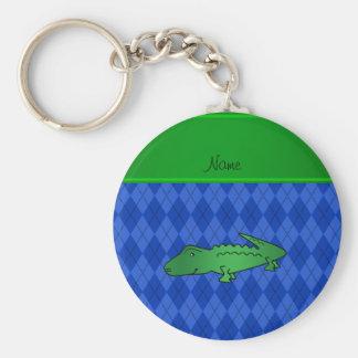 Personalized name alligator blue argyle basic round button keychain