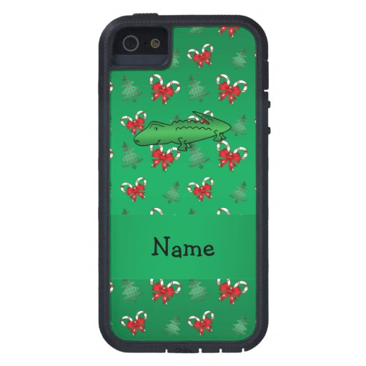 Personalized name alligator green candy canes bows iPhone 5 cases