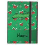 Personalized name alligator green candy canes bows iPad folio case