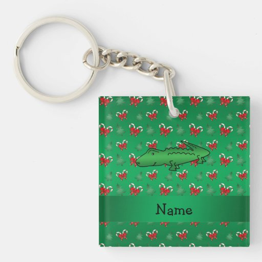 Personalized name alligator green candy canes bows square acrylic keychains