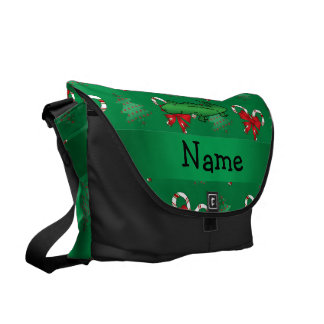 Personalized name alligator green candy canes bows courier bag