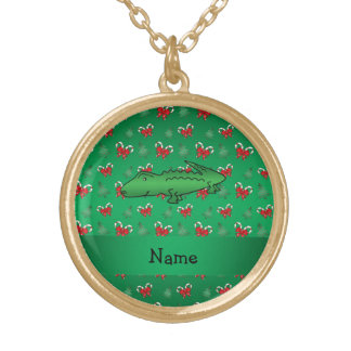 Personalized name alligator green candy canes bows jewelry