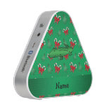 Personalized name alligator green candy canes bows bluetooth speaker