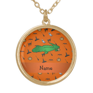 Personalized name alligator halloween pattern custom necklace