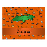 Personalized name alligator halloween pattern post cards