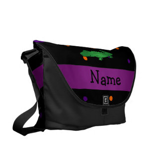 Personalized name alligator halloween polka dots courier bag