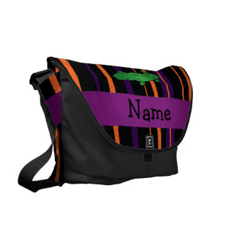 Personalized name alligator halloween stripes courier bags