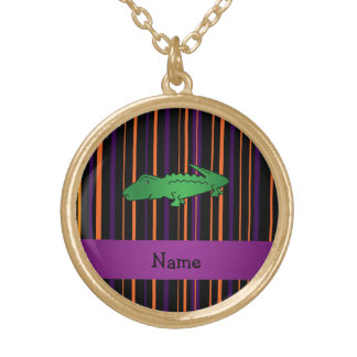 Personalized name alligator halloween stripes necklaces