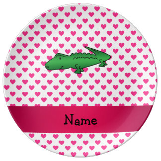 Personalized name alligator pink hearts polka dots porcelain plate