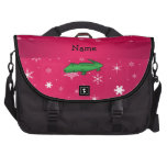 Personalized name alligator pink snowflakes computer bag
