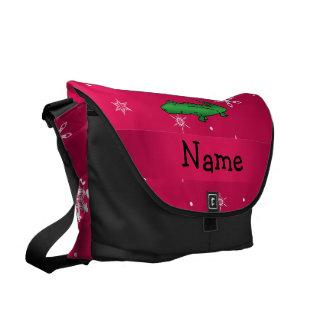 Personalized name alligator pink snowflakes messenger bag