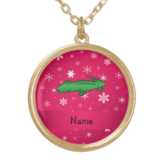 Personalized name alligator pink snowflakes custom jewelry