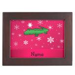 Personalized name alligator pink snowflakes keepsake box