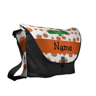 Personalized name alligator pumpkins pattern courier bag
