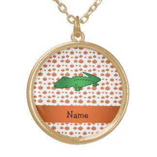 Personalized name alligator pumpkins pattern custom jewelry