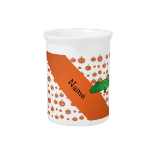 Personalized name alligator pumpkins pattern drink pitchers