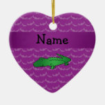 Personalized name alligator purple bats Double-Sided heart ceramic christmas ornament