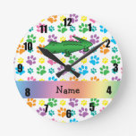 Personalized name alligator rainbow paws round wall clock
