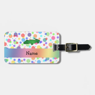 Personalized name alligator rainbow polka dots bag tags