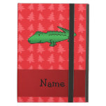 Personalized name alligator red christmas trees iPad cover