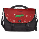 Personalized name alligator red snowflakes commuter bags