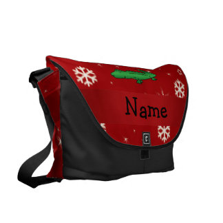 Personalized name alligator red snowflakes courier bag